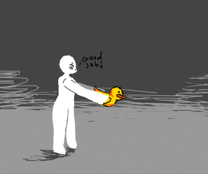 giving a drawception duck to people