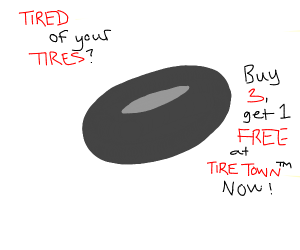 advertising for car wheel, includes pun