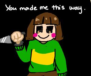chara threatening someone