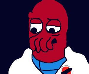 red alien w/ noodlenose in labcoatw/redplanet