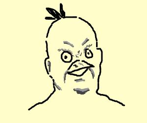 Yellow man with an extra bird beak