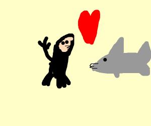 Diver kisses a shark