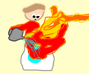 Man watering a washingmachine thats on fire