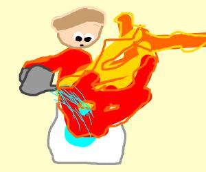 Man watering a washingmachine thats on fire