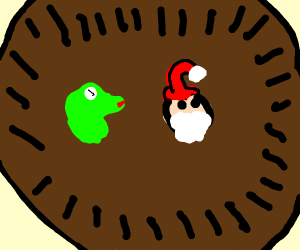 Kermit and Santa in the pit