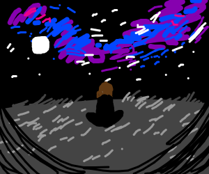 Man watches the galaxy