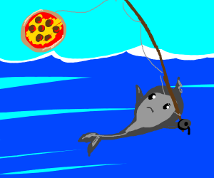 fish fishing with pizza to catch a humandiver