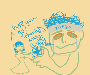 Ninja accepting a gift from blue-haired girl
