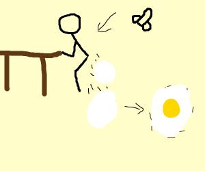 Man lays egg