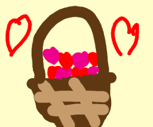 easter basket filled with hearts