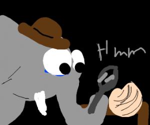 elephant detective looks @ onion