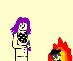 Kokichi sacrifices Shuichi for grape panta