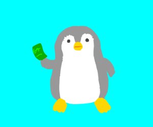 Penguin gets out a $1 bill