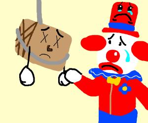 tiny box tim hangs himself clown is sad