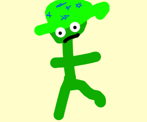 Green guy with a green hat with 5 stars on it