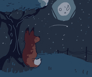 fox near tree with a full moon