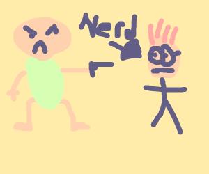 angry snoo shooting a nerd
