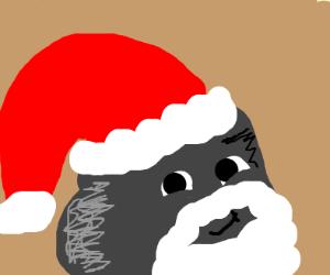 A rock dressed as Santa
