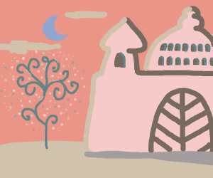 Pink castle and blue moon