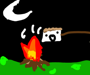 The man is a marshmallow over the campfire