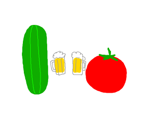 Cucumber drinking beer