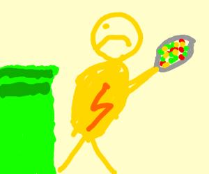 superhero pulling trash