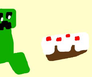 creeper wants the cake