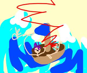 Japanese painting of tsunami