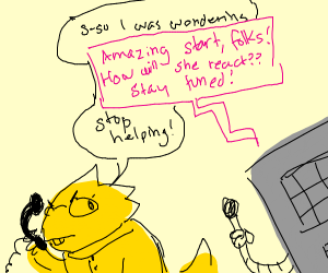 Alphys is awkward, Mettaton is not helping