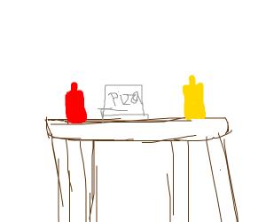 pizza and ketchup, mustard