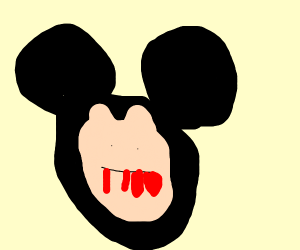Mickey Mouse with a frightening face