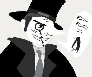 Old man wearing monocle explains evil plot