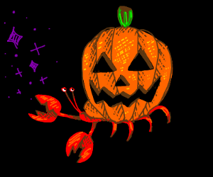 Hermit crab with Jack o' lantern as shell