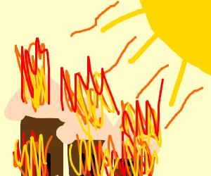 Sun sets fire to village