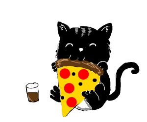 Cat eating pizza with Coke cola