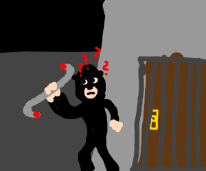 robber with crowbar is confused