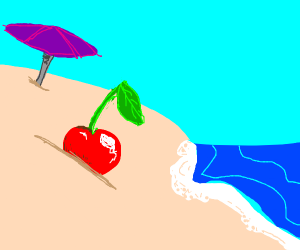 Cherry in sand at beach/blue dice watches
