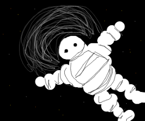 Michelin Man being sucked into black hole