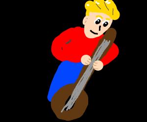 Man plays a really long guitar