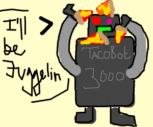 Tacobot3000 juggling pizza (why not tacos?)