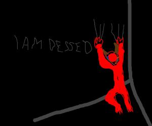 Devil depressed in the corner