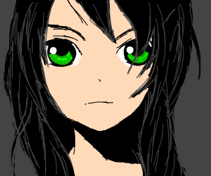 Anime girl with big green eyes and black hair