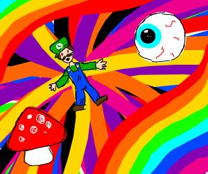 Luigi goes on an LSD trip