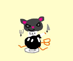 Cat ate a bomb