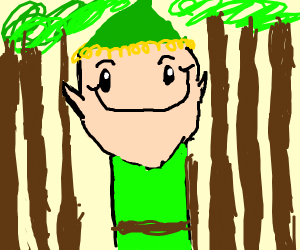Elf in forest with a smug face