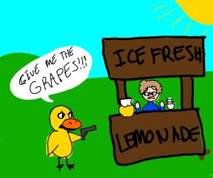 Duck threatens lemonade stand with gun