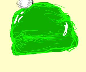 a shiny green beanie with a pom pom