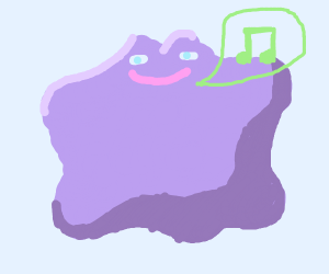 Pink blob happily humming a tune