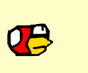 Red ball shaped bird in a video game