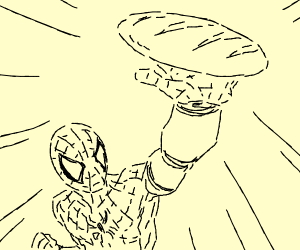 Spiderman proudly displays his loaf of bread.